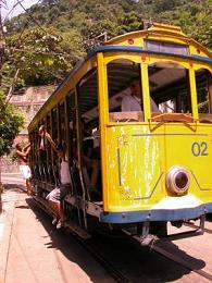 The Tram that takes tourists and locals through the historic neighborhoods of Rio de Janeiro, Brazil