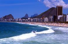 The waves crashing on Copacabana Beach in Rio de Janeiro, Brazil