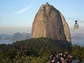 The cable car heading towards the top of Sugarloaf Mountain in  Rio de Janiero